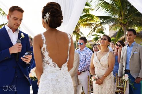 low-cut back Estee Couture bridal Dress Groom Vows Indochino mens deep blue suit Secrets Silversands Wedding Destination