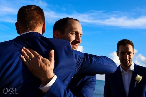 Best man Congratulations Hug Indochino Wedding Suit Deep Blue Model Secrets Silversands Cancun Wedding