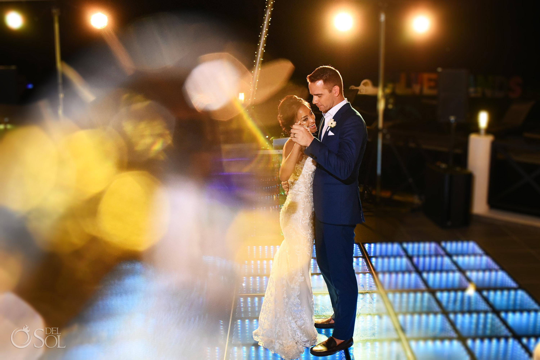 First Dance Gorgeous Bride Groom Secrets Silversands Cancun Wedding Reception light decoration disco floor