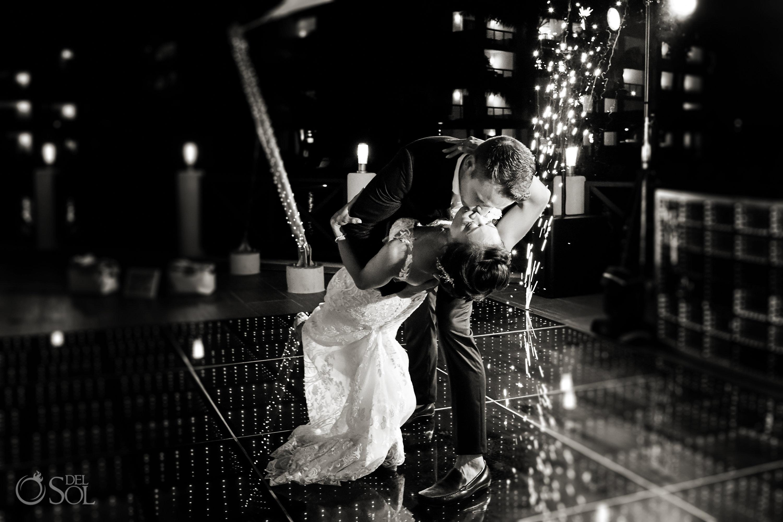 Black White First Dance Gorgeous Bride Groom Secrets Silversands Cancun Wedding Reception light decoration disco floor