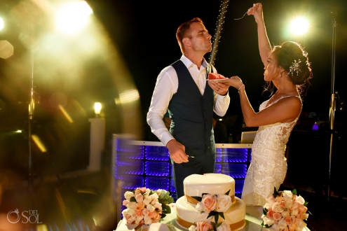 First Wedding Cake Bite Sexy Newlyweds Couple Secrets Silversands Wedding Reception