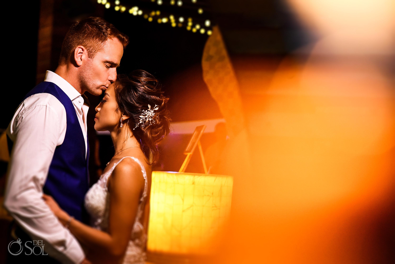 Romantic Golden Light sweetest newlyweds kiss Secrets Silversands Resort and Spa Wedding Reception