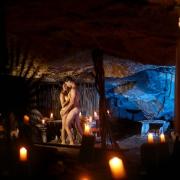 Jungle cenote cave couples boudoir Trash the Dress photography