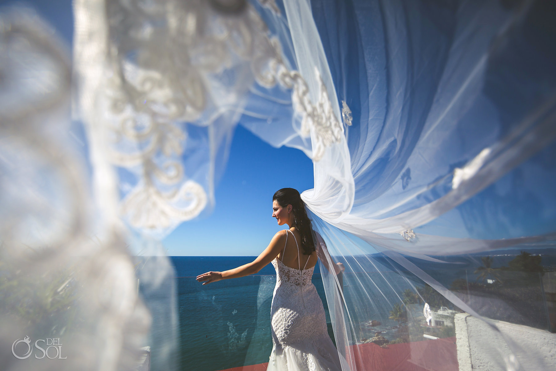 Bridal Long Tulle Embroidered Veil Hyatt Ziva Puerto Vallarta Wedding