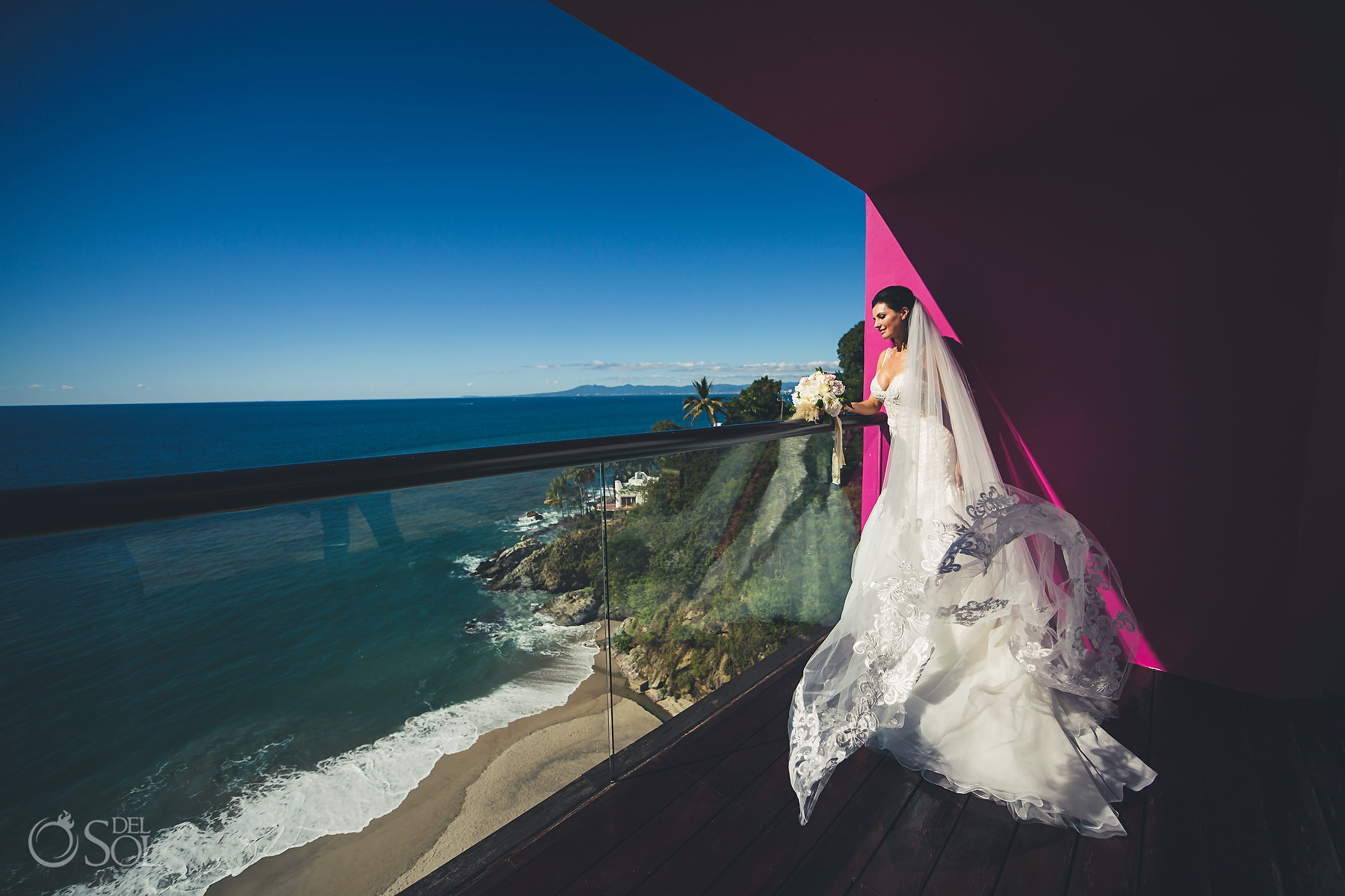 breathtaking wedding destination views Bridal Long Embroidered Essence of Australia Dress Hyatt Ziva Puerto Vallarta Wedding