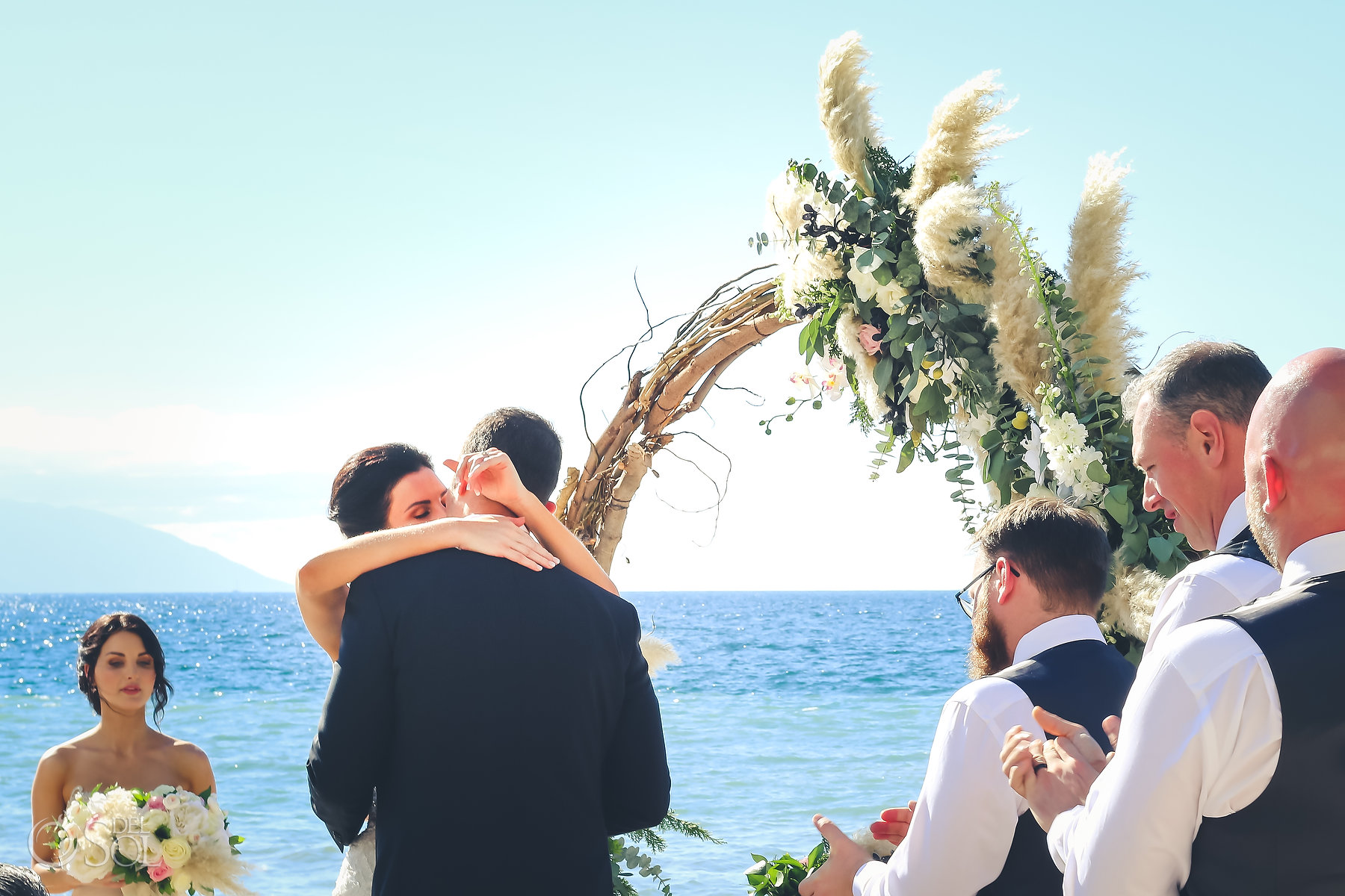 Beachfront ceremony First Kiss Hyatt Ziva Puerto Vallarta Wedding