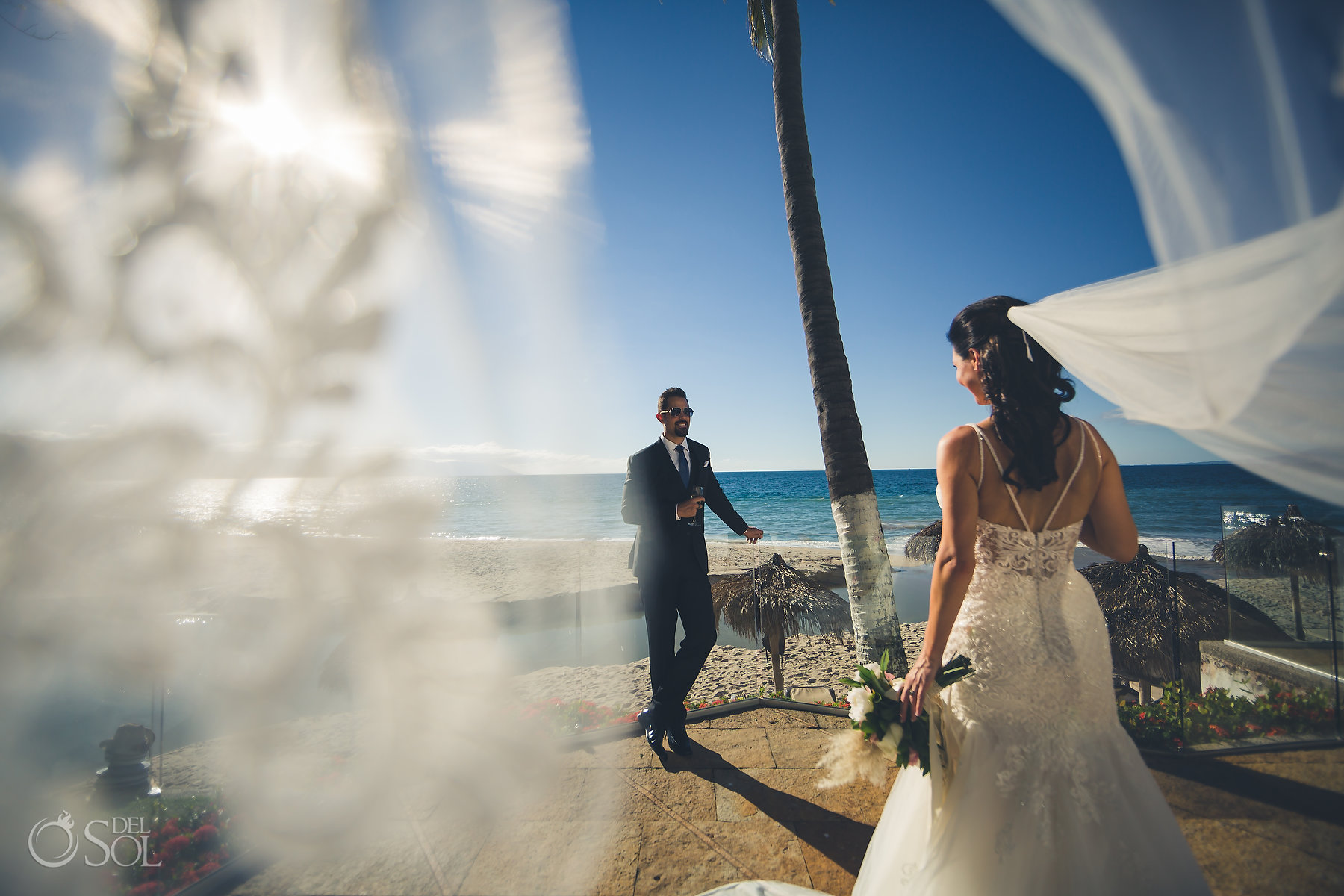 Newlyweds beachfront portraits Hyatt Ziva Puerto Vallarta Wedding