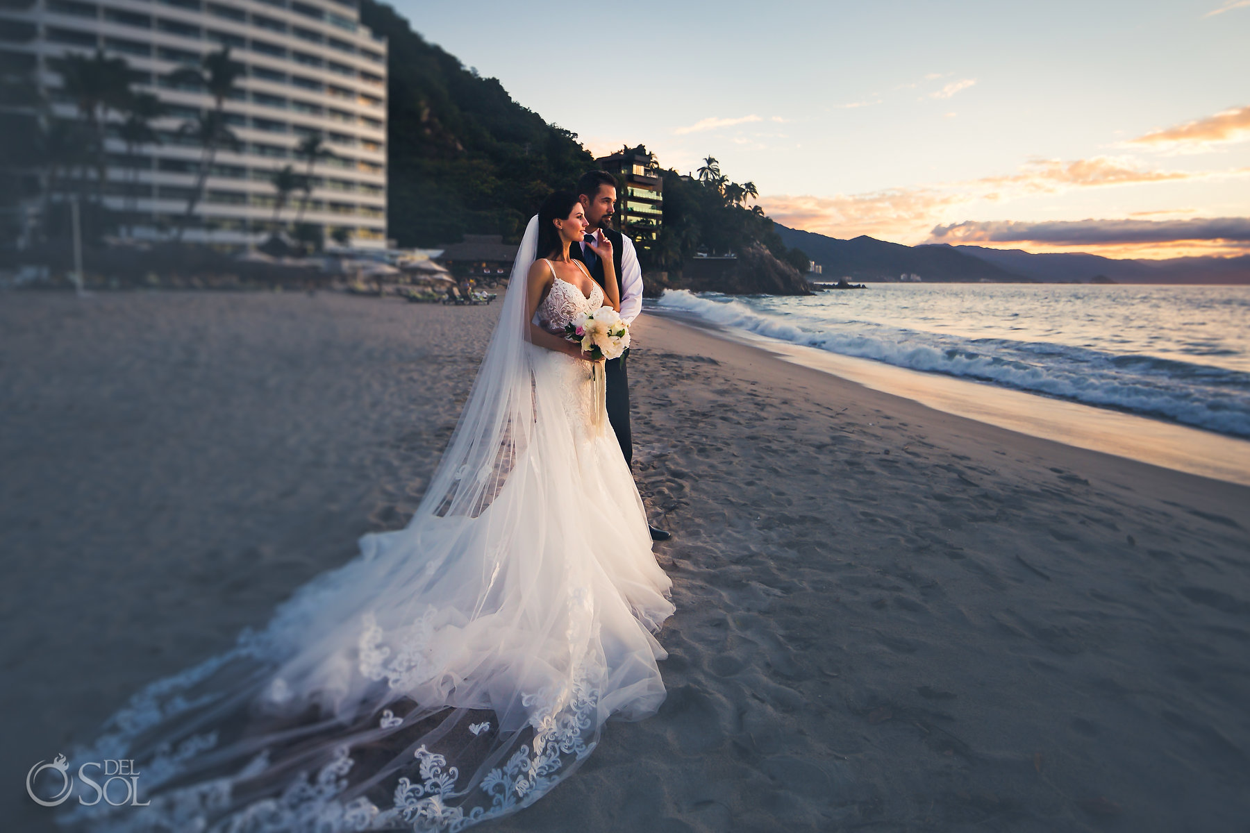 Newlyweds beachfront epic portraits Bridal Long Tulle Embroidered Veil Hyatt Ziva Puerto Vallarta Wedding