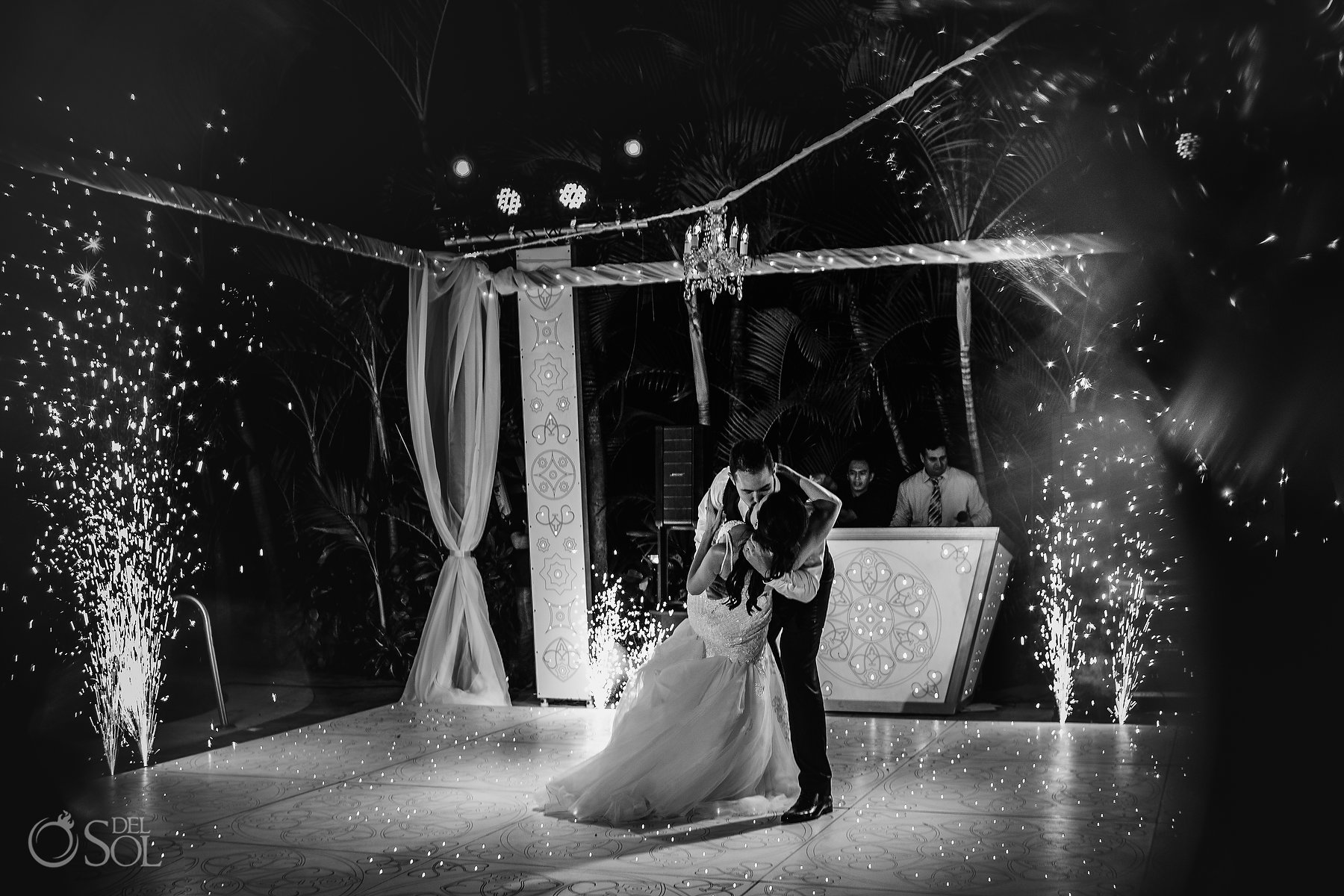 black and white Epic First dance with kiss and fireworks Hyatt Ziva Puerto Vallarta Wedding