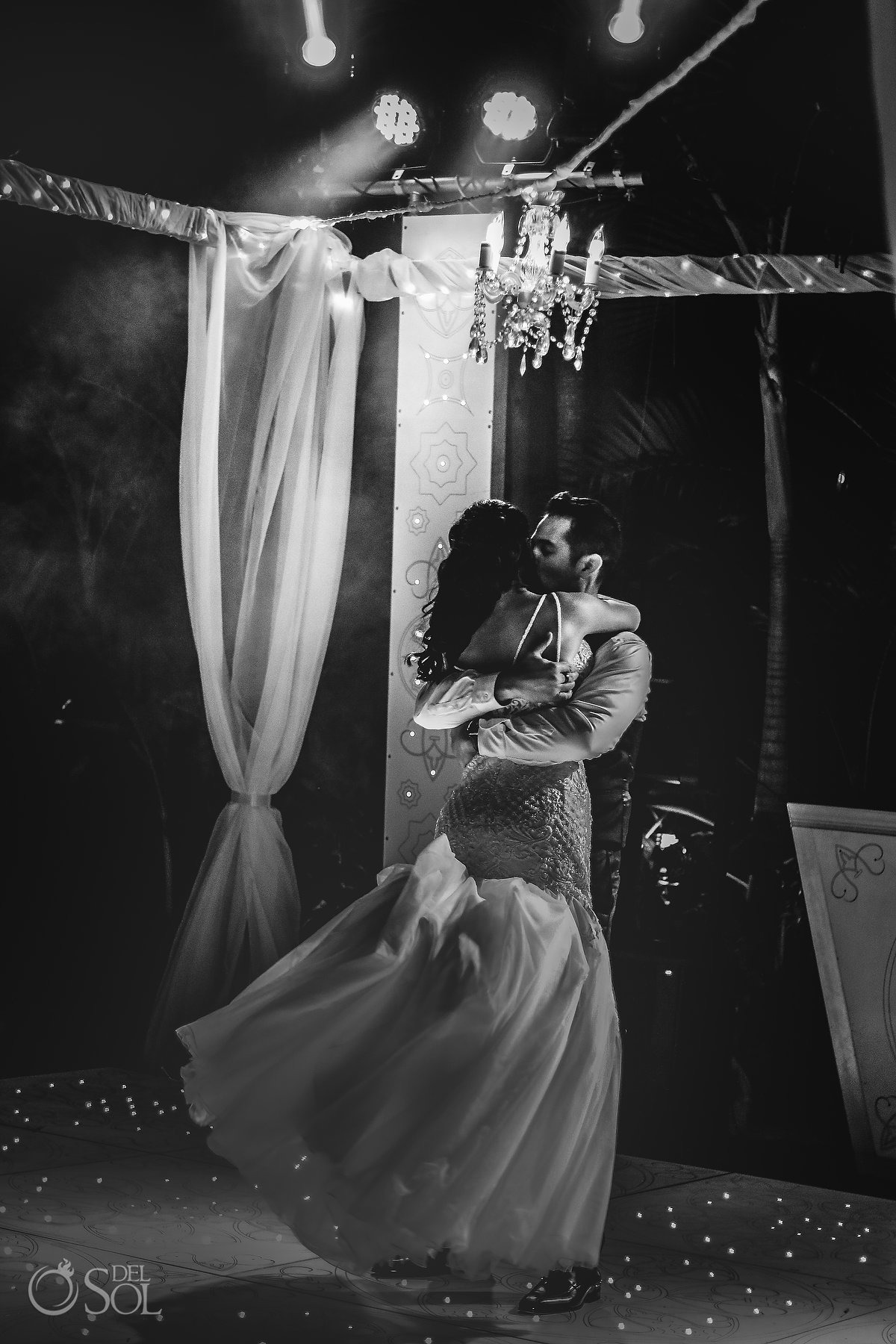 black and white First dance deep hug Hyatt Ziva Puerto Vallarta Wedding