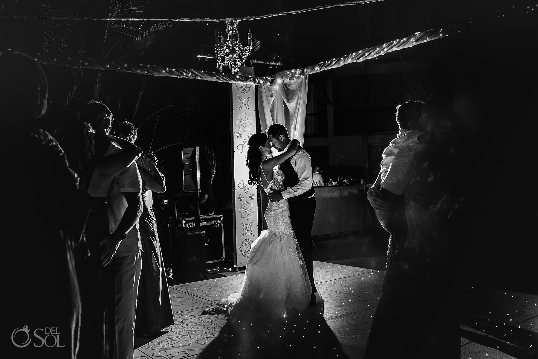 Intimate Newlyweds black and white dancing Hyatt Ziva Puerto Vallarta Wedding