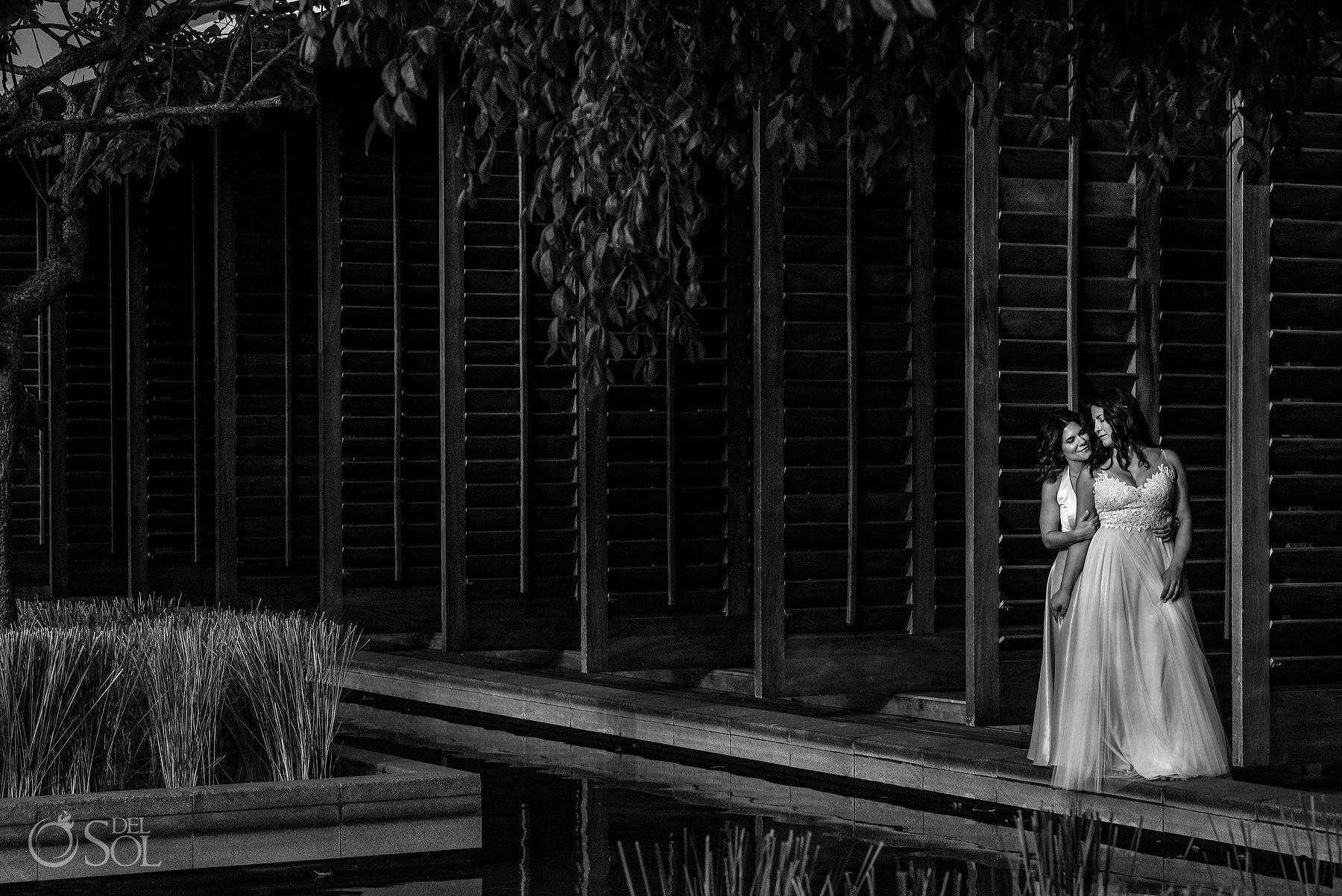 Artistic Black and White Lesbian Bridal wear Same Sex Nizuc Cancun Wedding