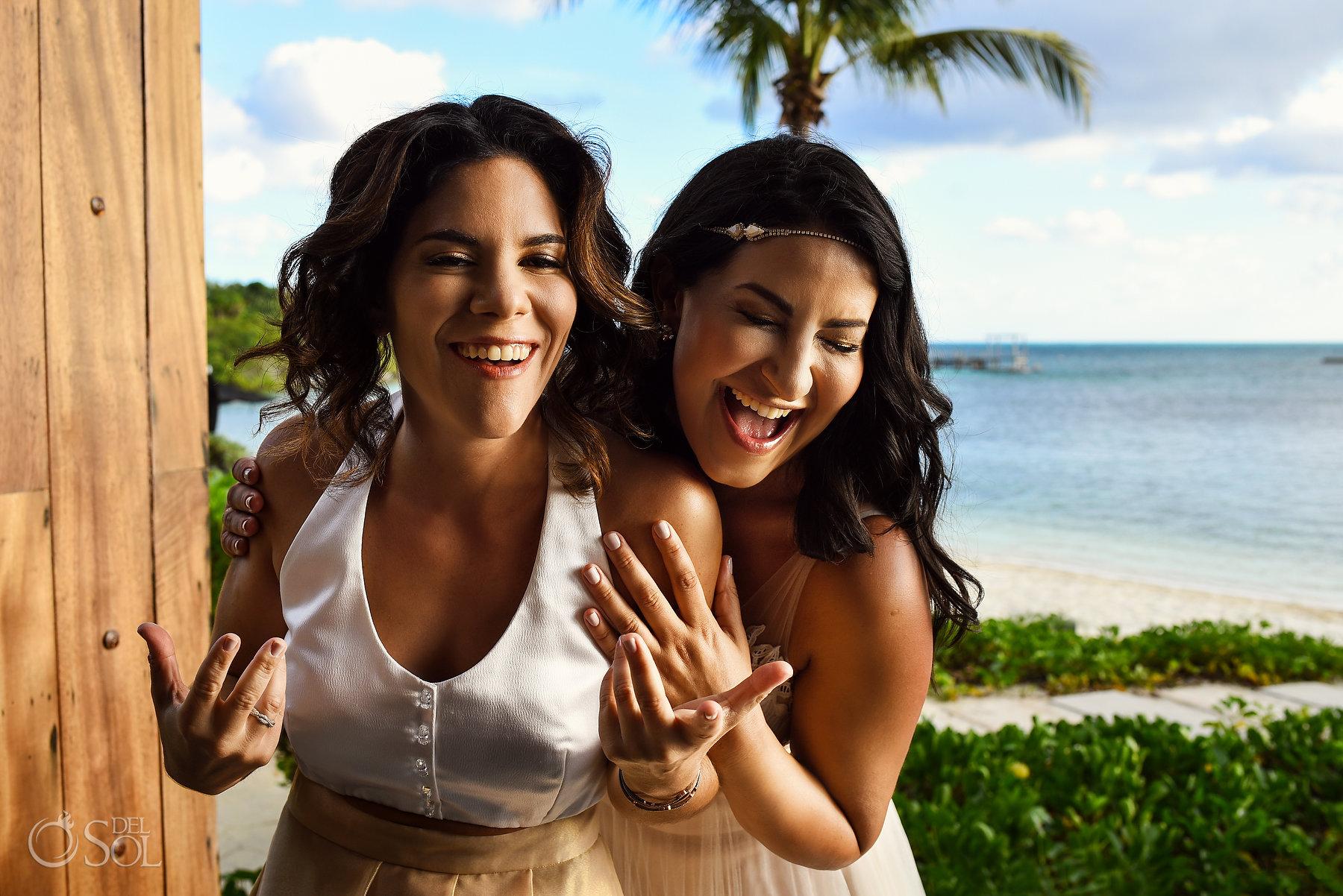 Nizuc gay wedding two brides laughing candid portrait