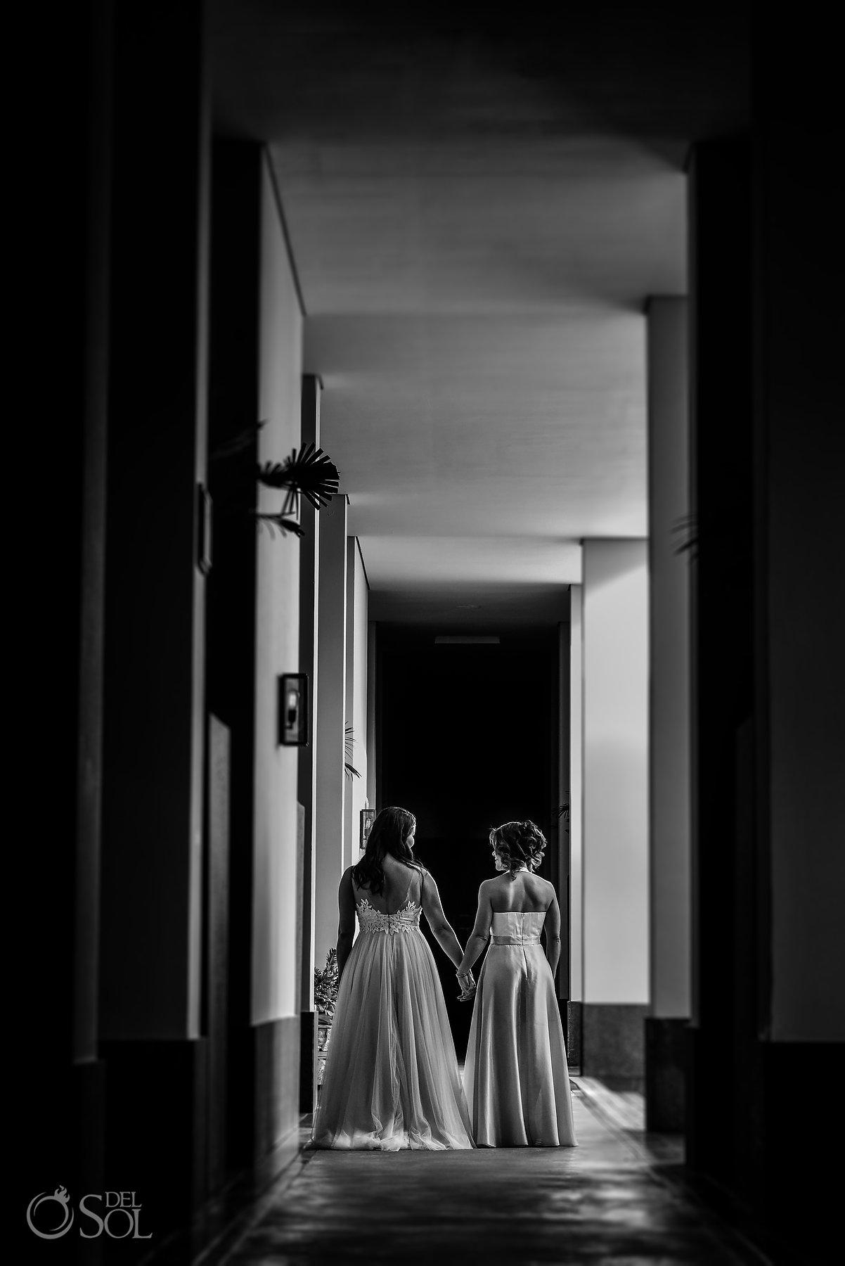 Documentary Black and White Resort Hall Lesbian Brides Same Sex Nizuc Wedding