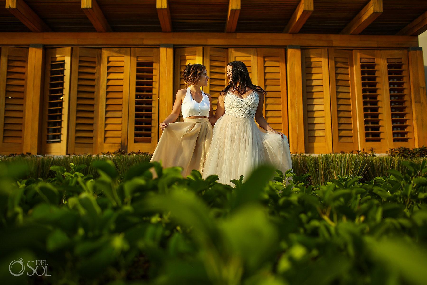 lesbian bridal wear Organic Ambience Same Sex Nizuc Wedding