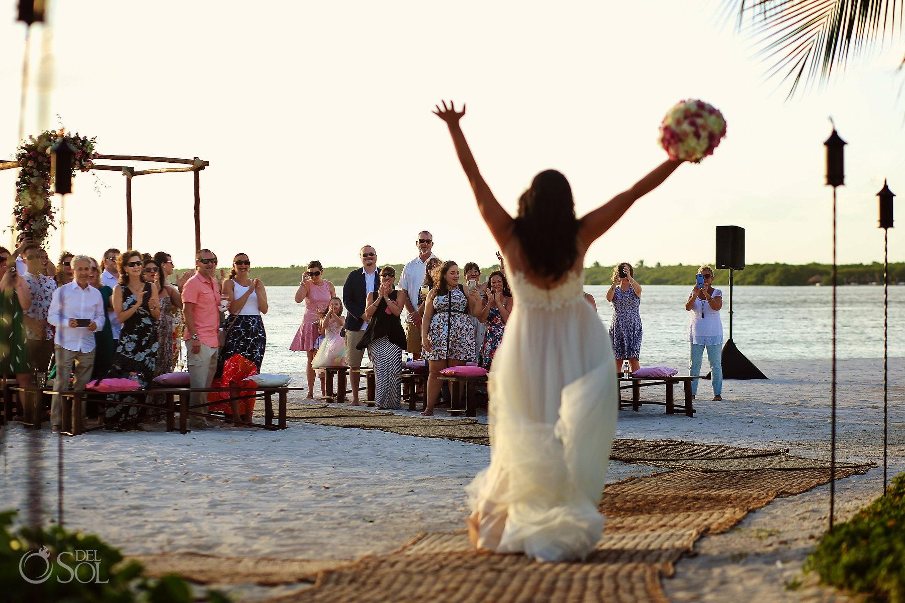 happy bride entrance photography Same Sex Nizuc Wedding