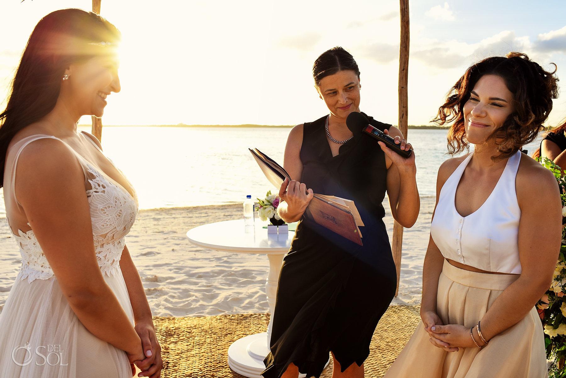 Lesbian Brides sunset Beachfront Ceremony Same Sex Nizuc Wedding