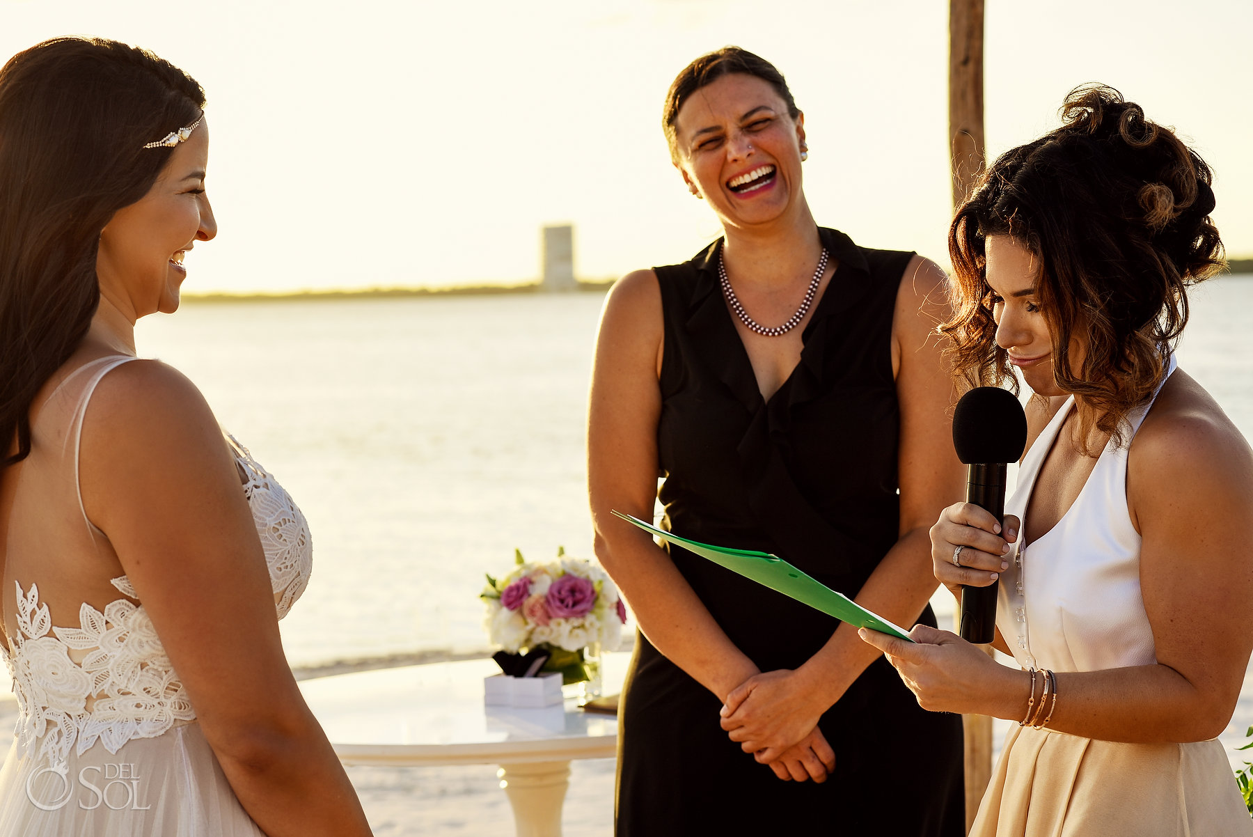 Lesbian Brides vows Beachfront Ceremony Same Sex Nizuc Wedding