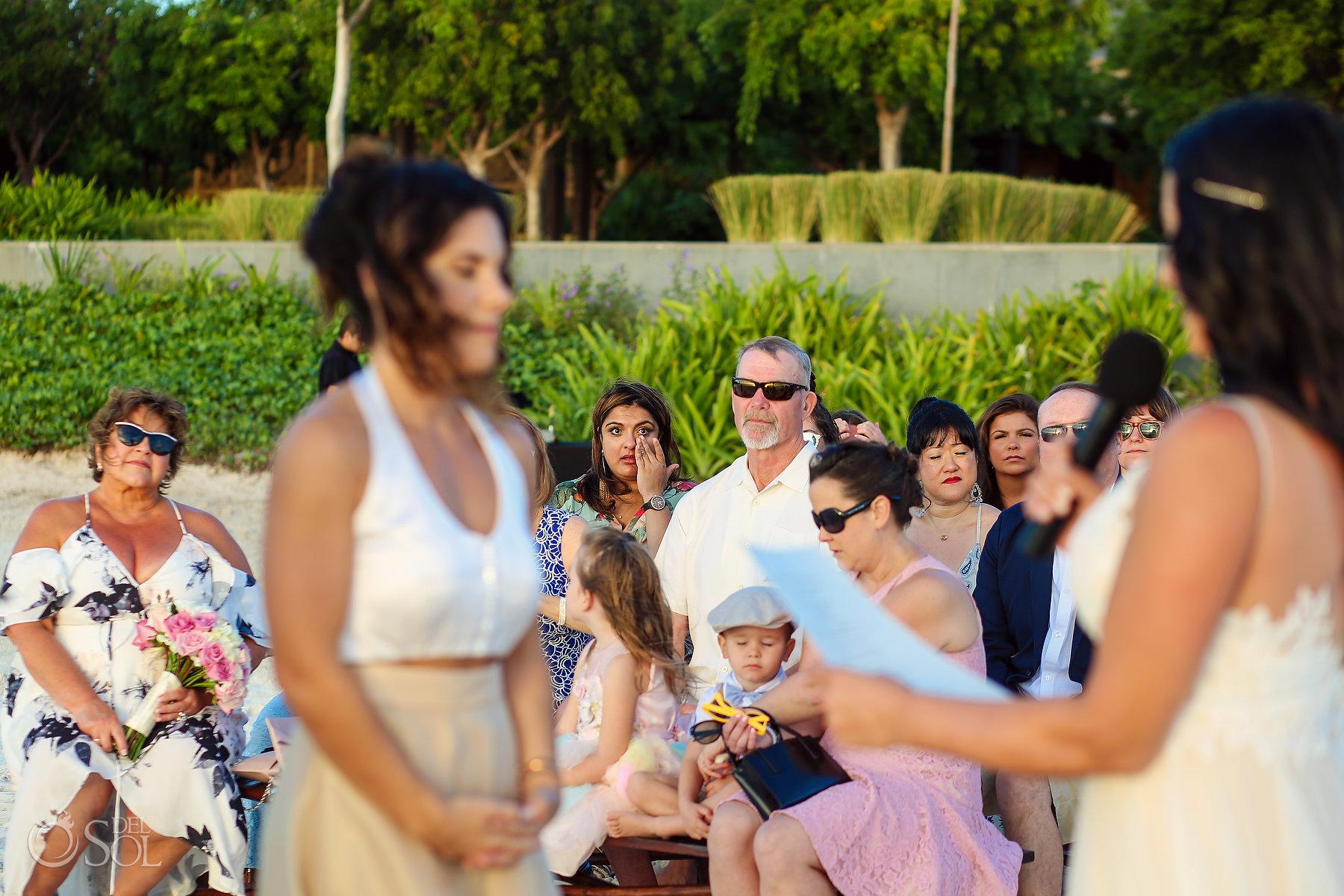 Lesbian Brides vows Ceremony Same Sex Nizuc Wedding