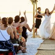 Newlyweds lesbian ceremony dresses Same Sex Nizuc Wedding
