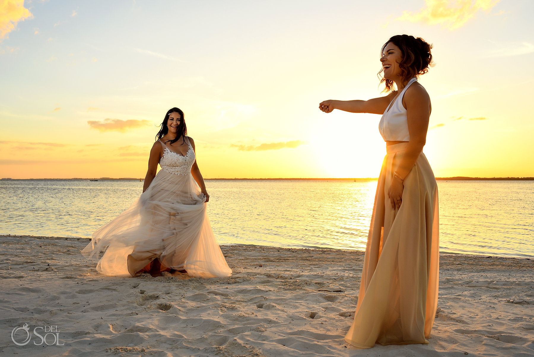 lesbian bridal wear sunset photo Same Sex Nizuc Wedding