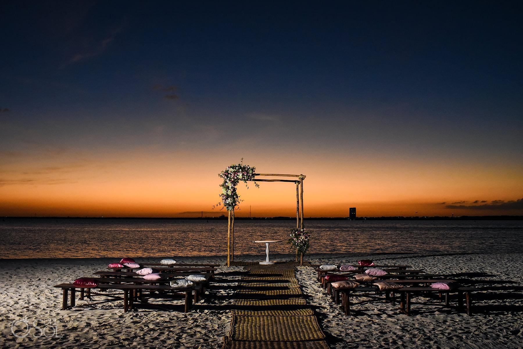 Lakefront Gazebo ceremony ideas sunset Same Sex Nizuc Wedding