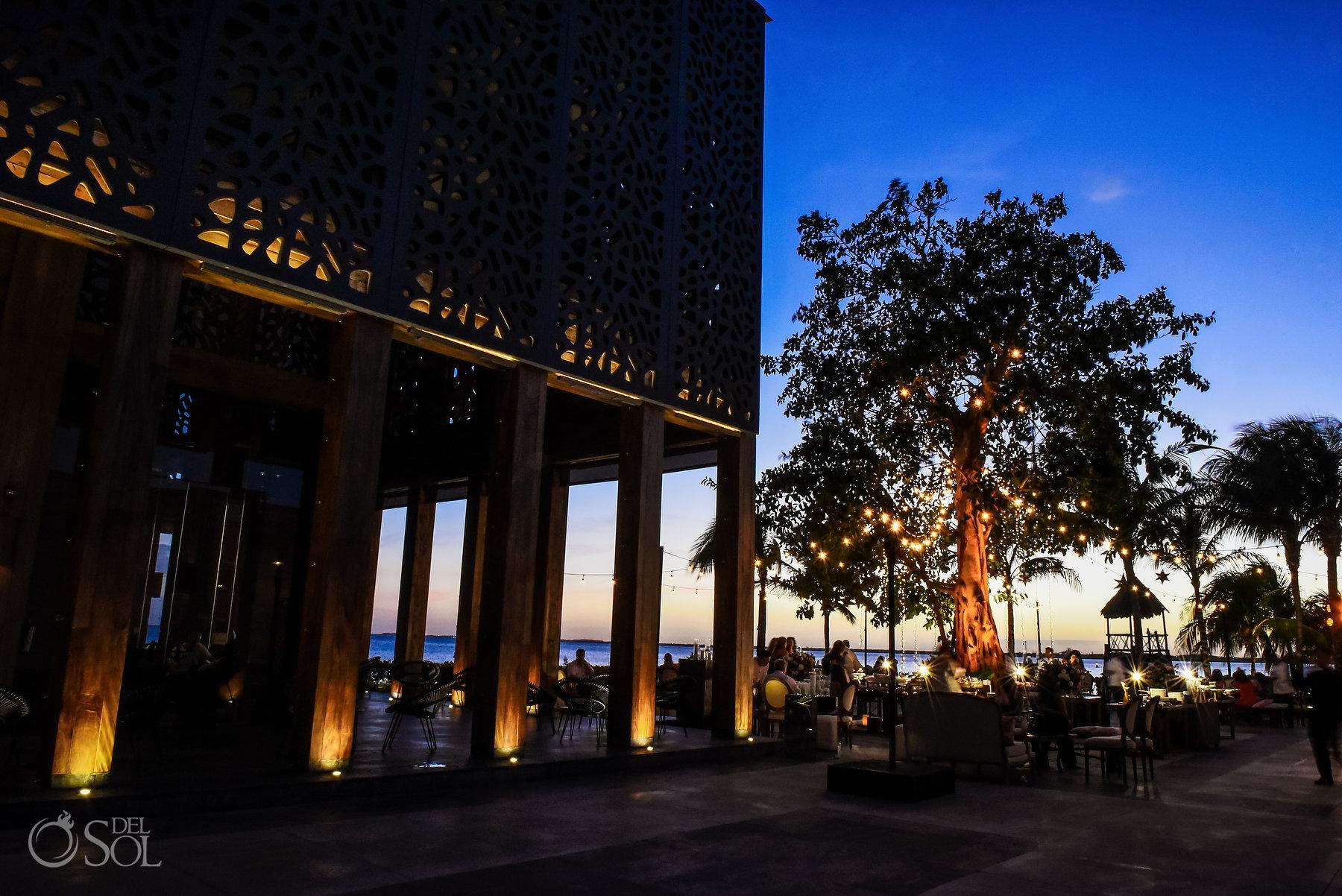 Nizuc same sex wedding reception location Akan terrace twilight scene setter