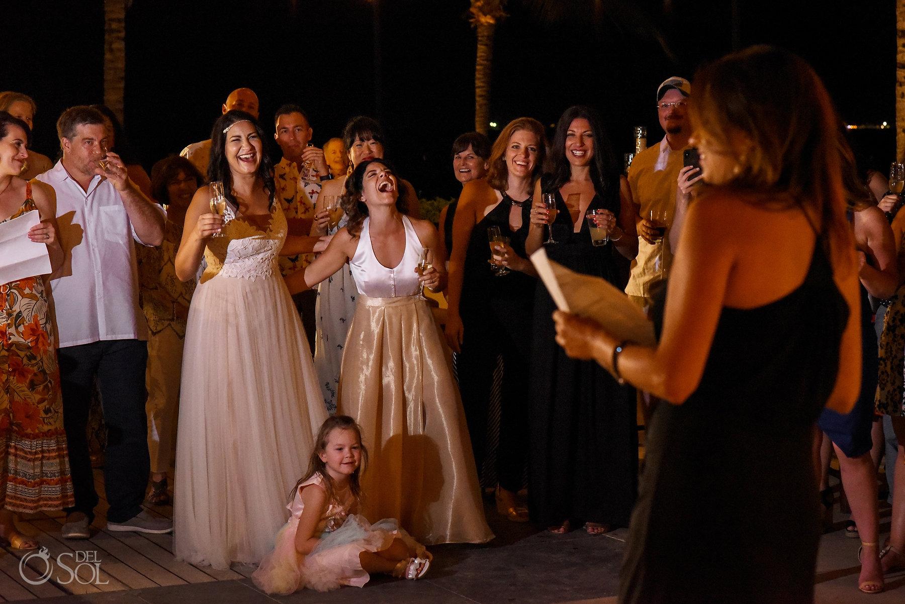 Reception party funniest speech ideas Same Sex Nizuc Wedding