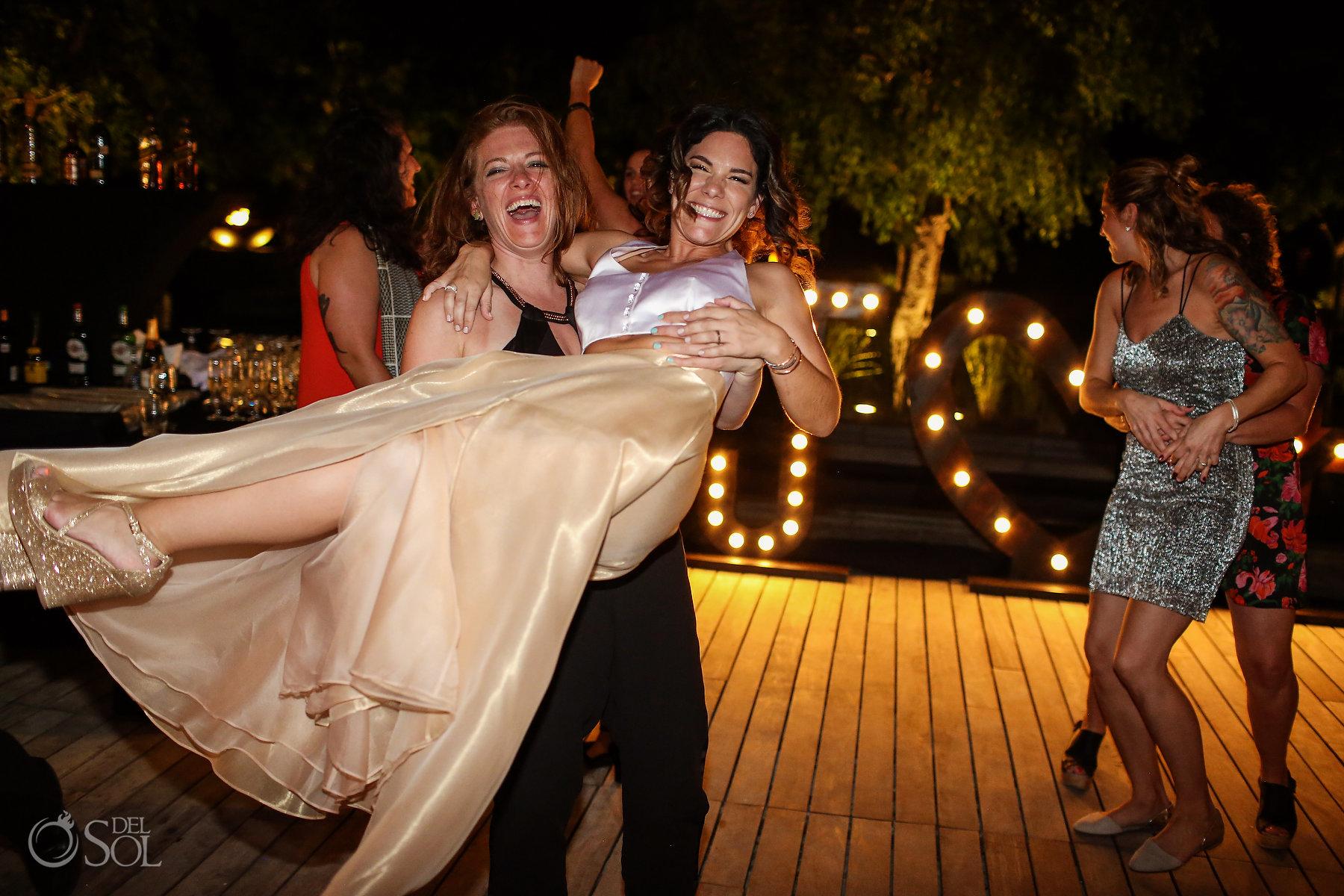 Party Reception Carry the bride Same Sex Nizuc Wedding