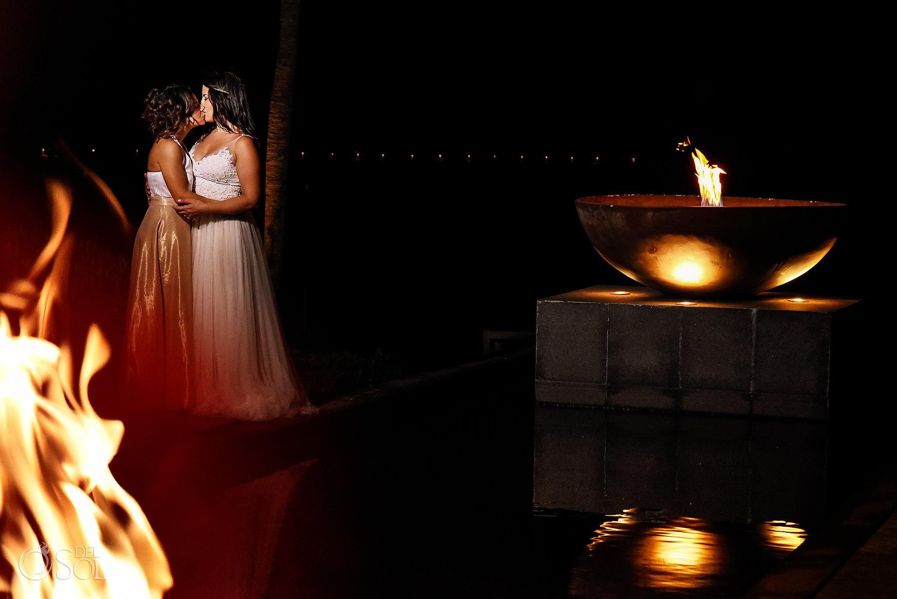 Sexy fire Photoshoot Lesbian Brides Same Sex Nizuc Wedding