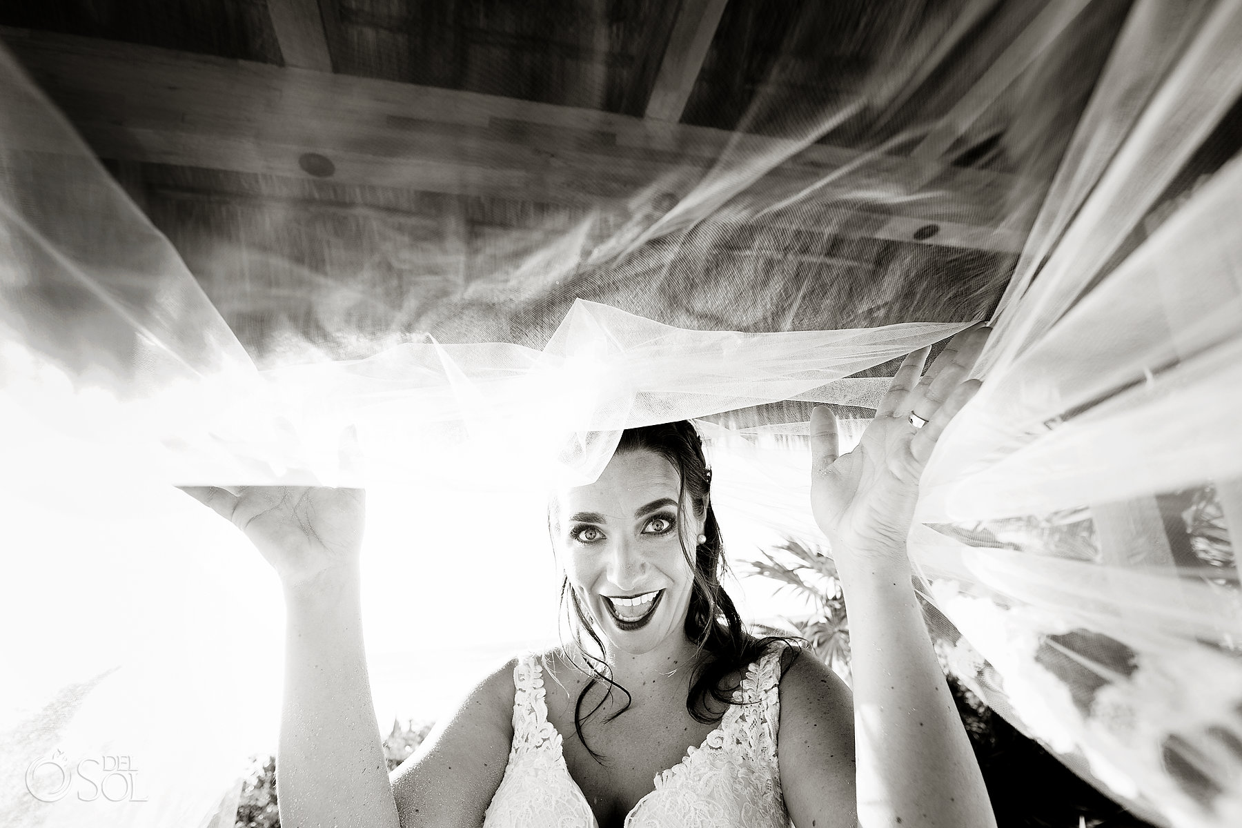 playful bride black and white portraits tulum cenote experience