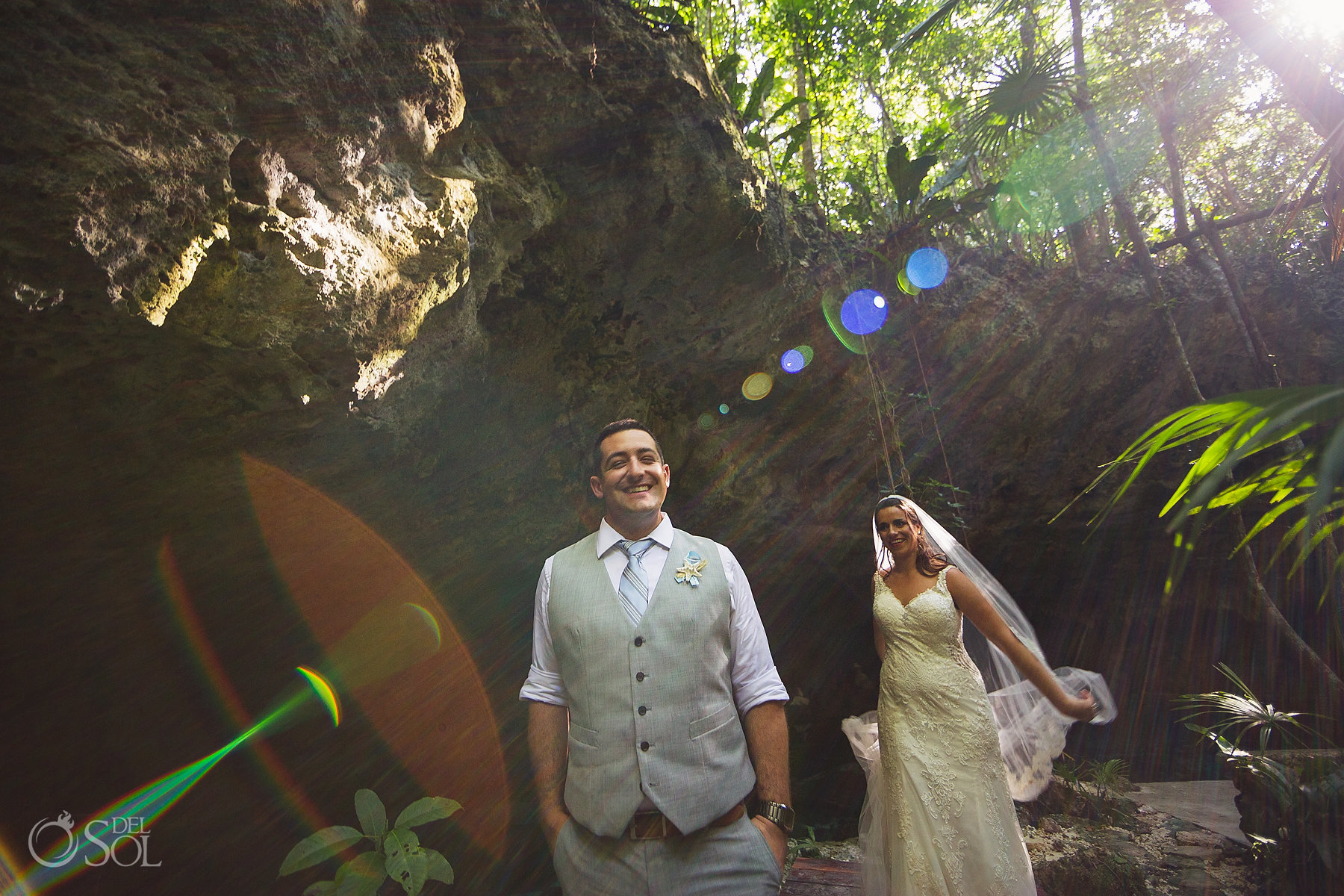trash the dress bride and groom Tulum Cenote Experience