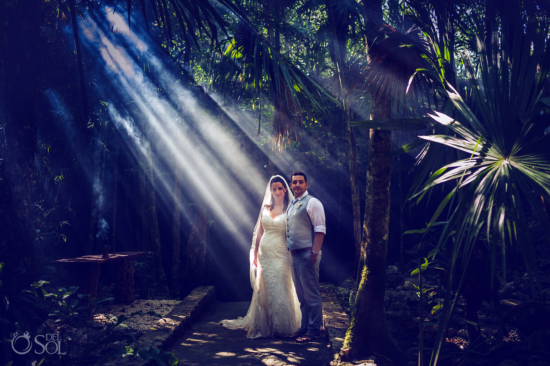 mayan jungle Tulum Cenote Experience bride and groom photoshoot