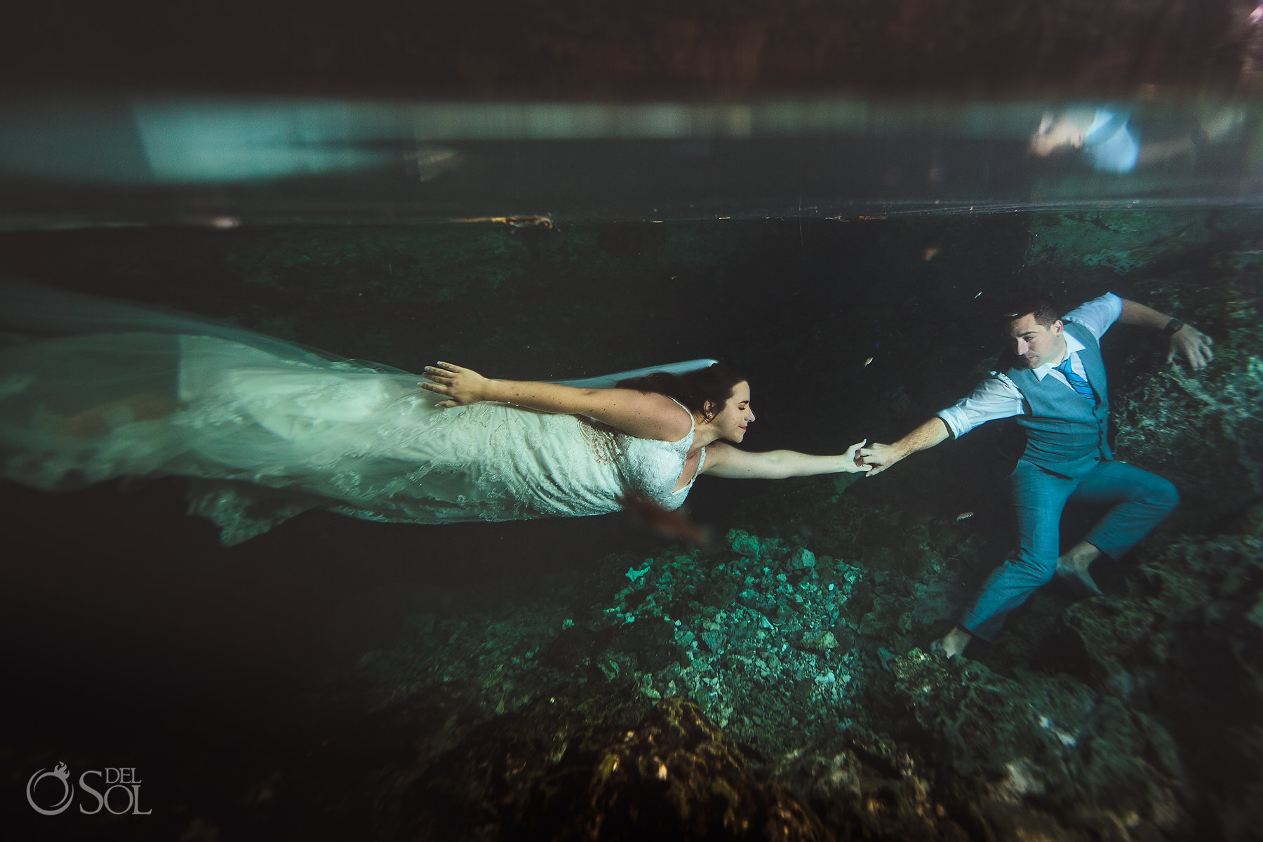 bride and groom trash the dress Tulum Cenote Experience