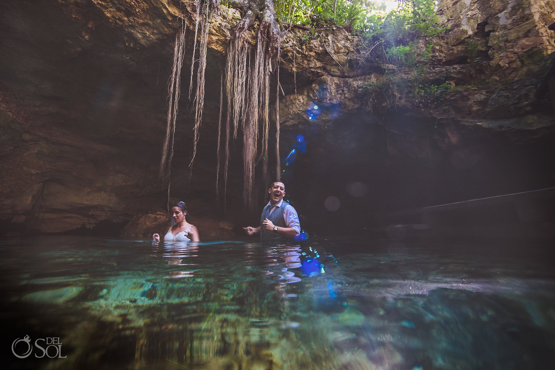 bride and groom Tulum Cenote Experience
