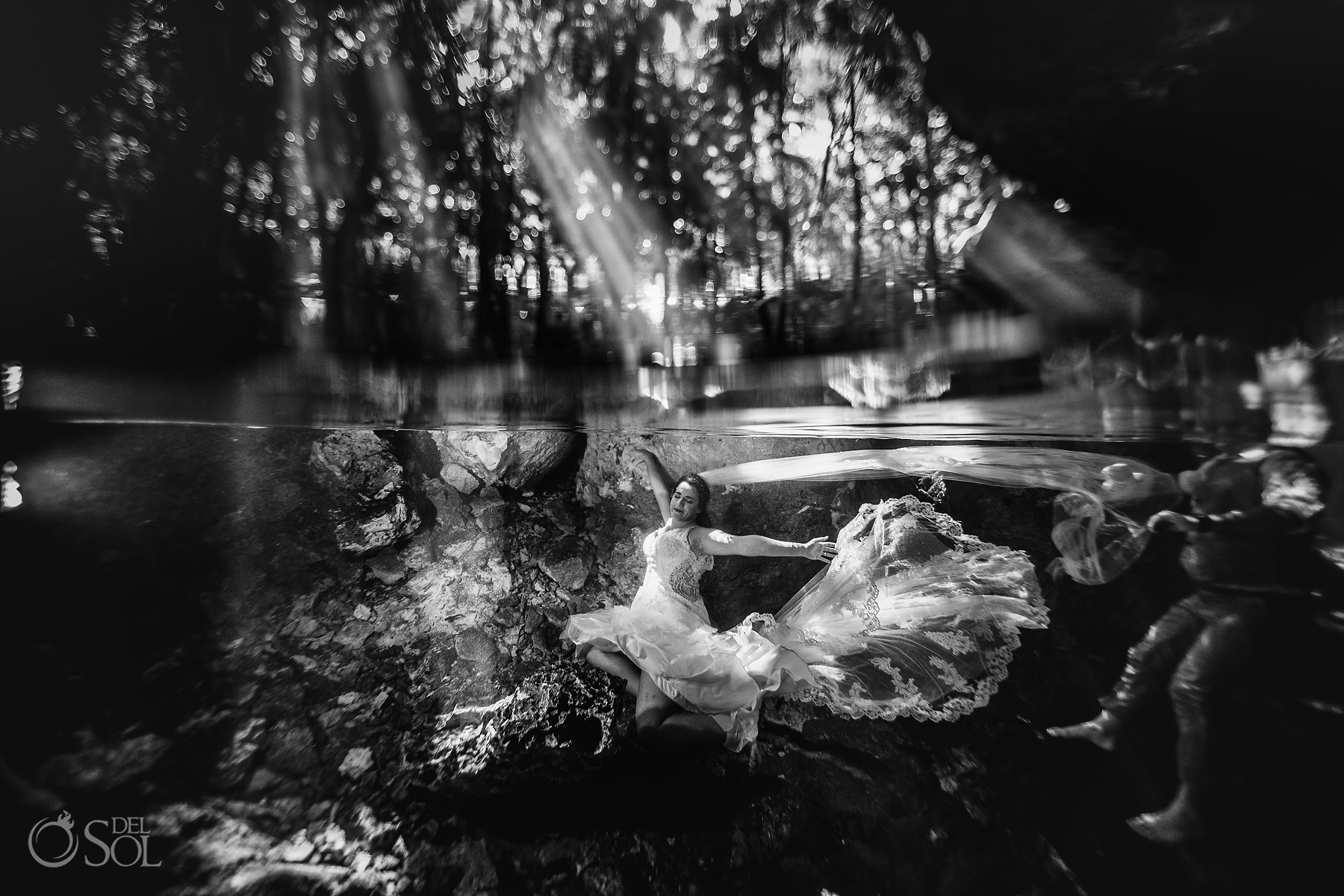 bride Tulum Cenote Experience trash the dress