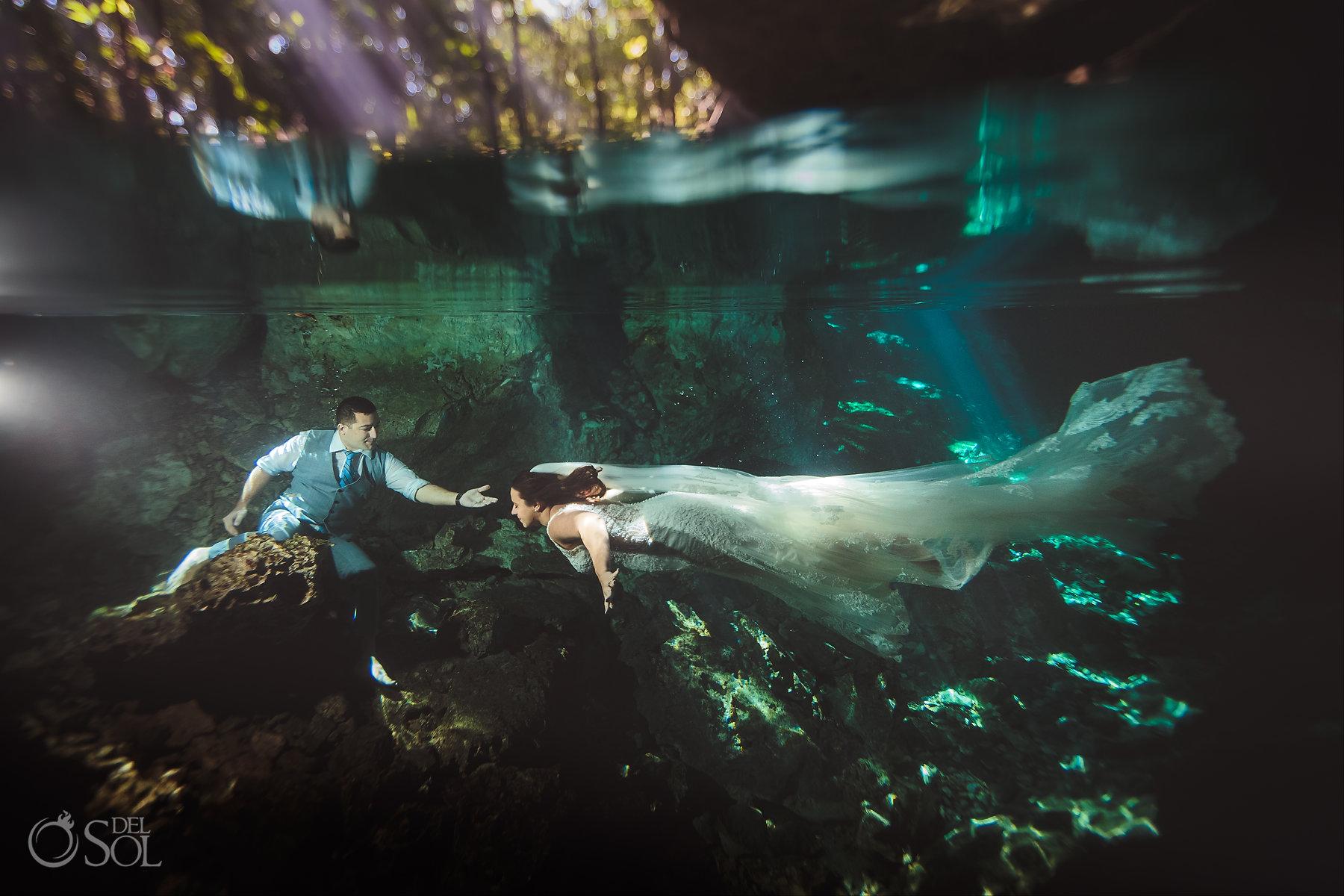 couple trash the dress Tulum Cenote Experience Riviera Maya Mexico