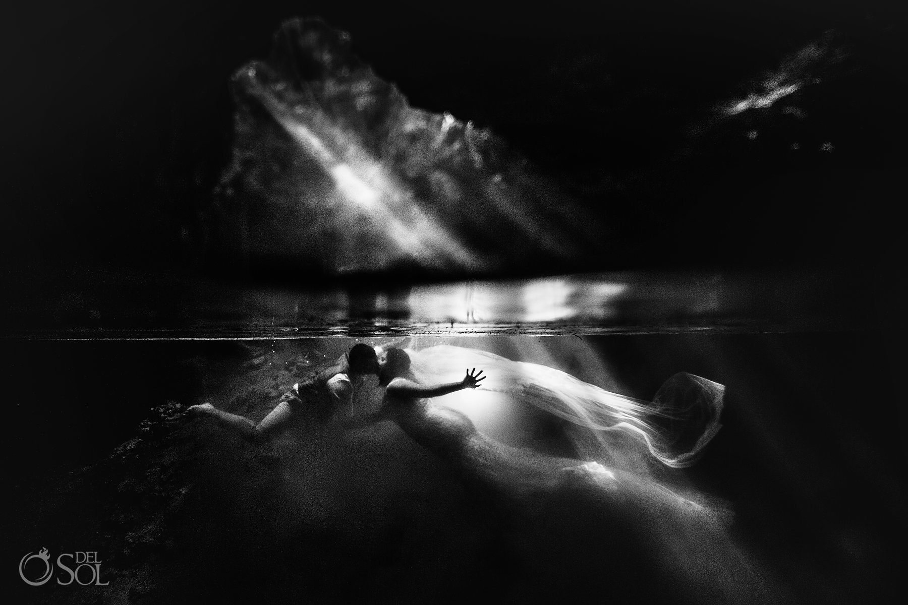 black and white Tulum Cenote Experience underwater art