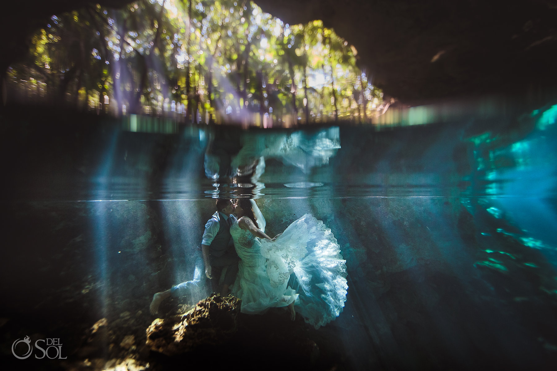 bride and groom Tulum Cenote Experience underwater photography