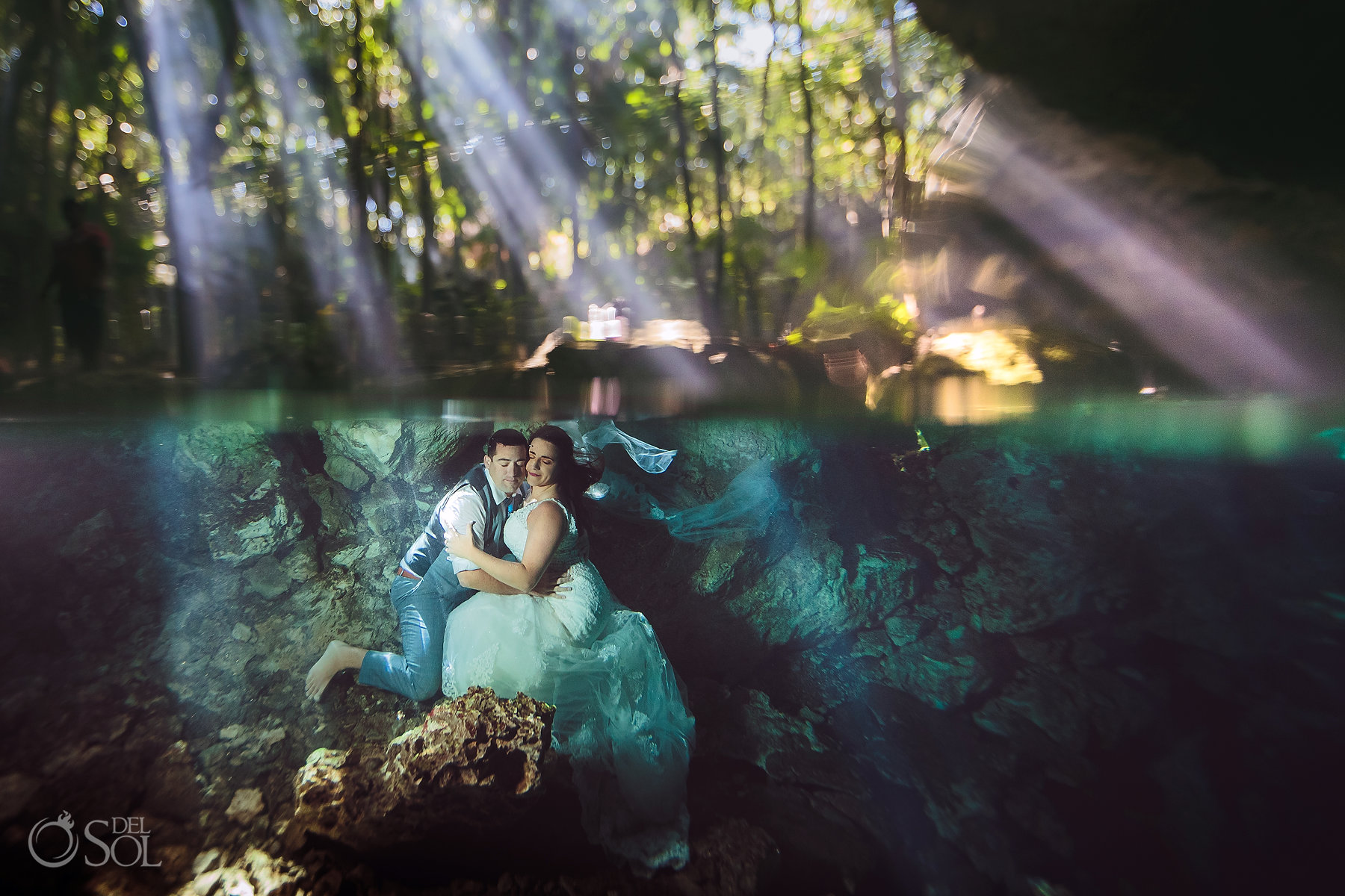 couple underwater portraits Tulum Cenote Experience Riviera Maya Mexico