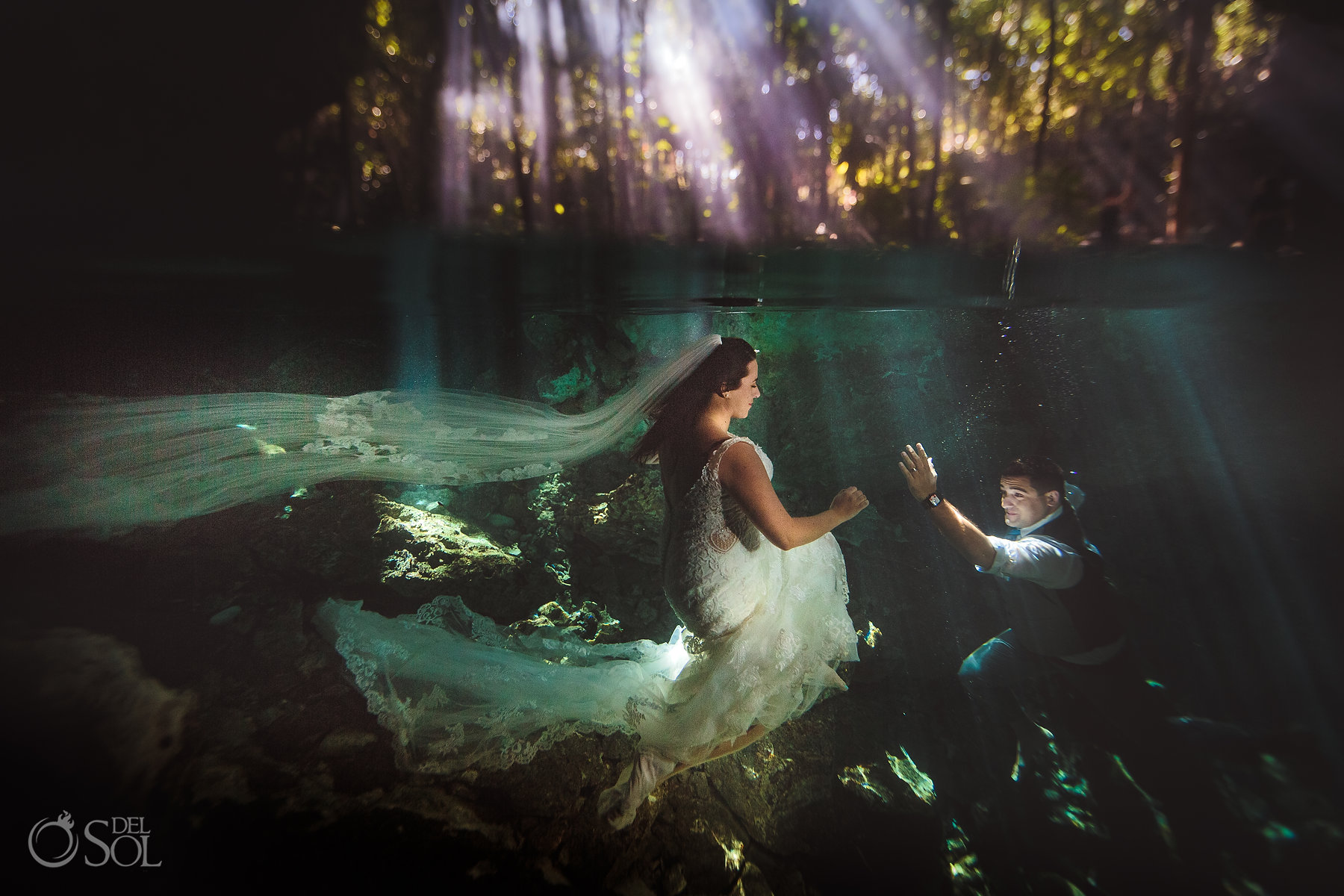 bride and groom trash the dress photography Tulum Cenote Experience