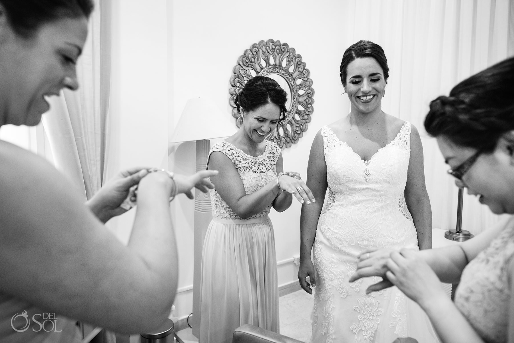 Dreams Tulum Suit bridal party gift ideas black and white photo