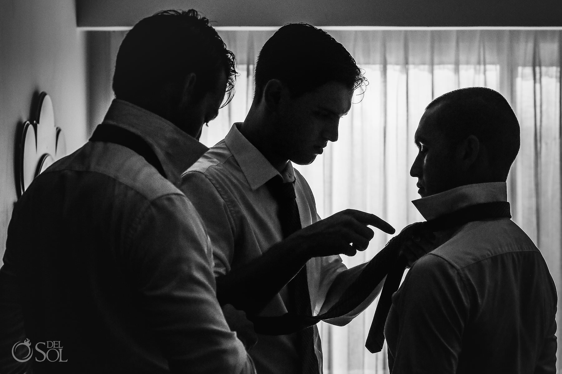 Dreams Tulum Suit Black and White Photo Groom Getting Ready