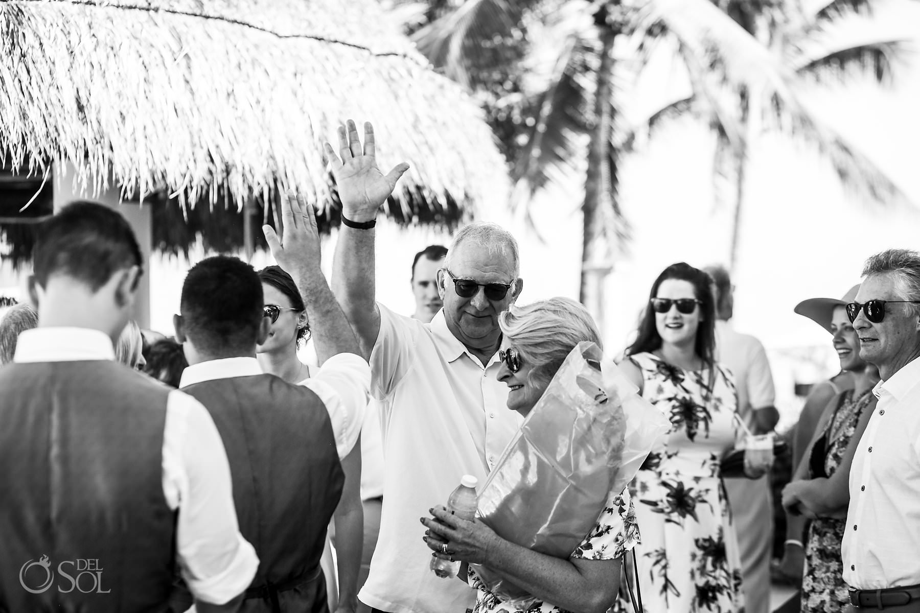 Dreams Tulum Wedding Black and White Family Photo