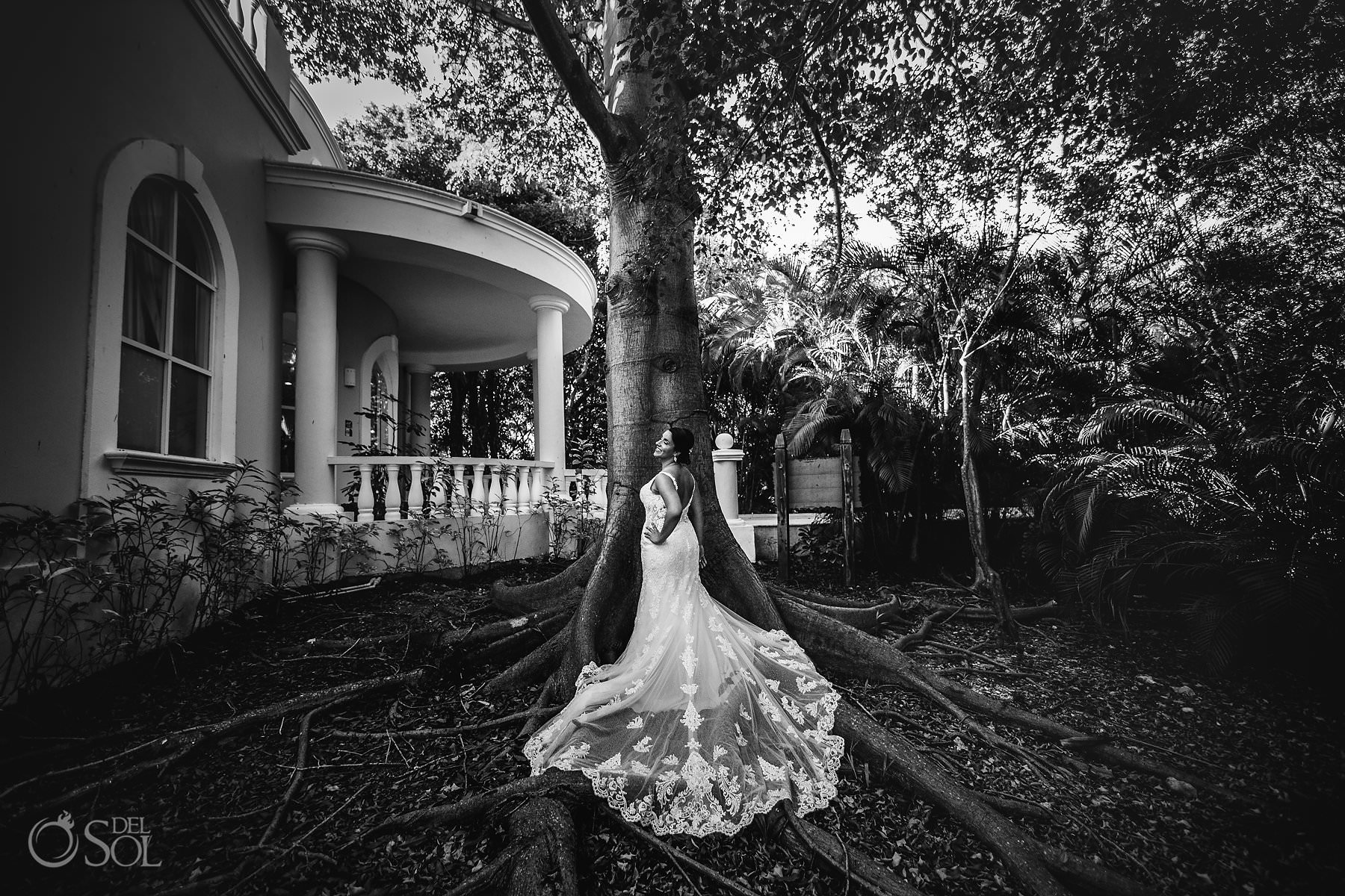 Dreams Tulum Wedding Ceiba Tree Black and White Bridal Portrait Eph Apparel Bridal Dress