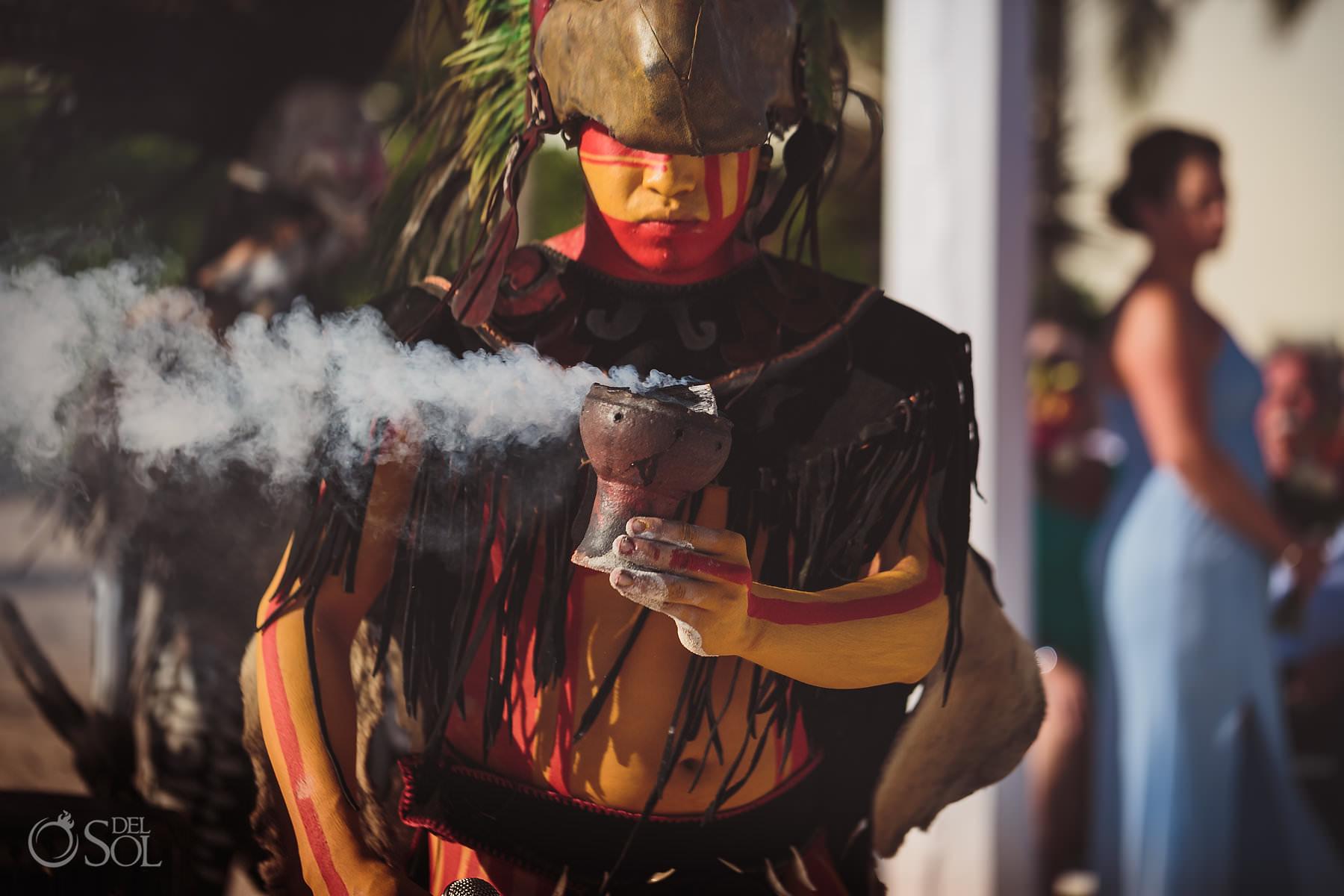 Dreams Tulum Mayan Wedding Mayan Shaman Copal Smoke