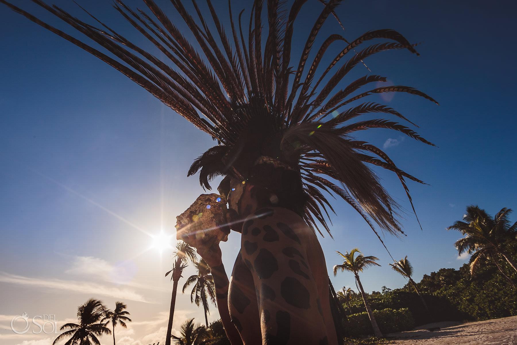 Dreams Tulum Mayan Wedding Charcoal Sound feathers shaman costume