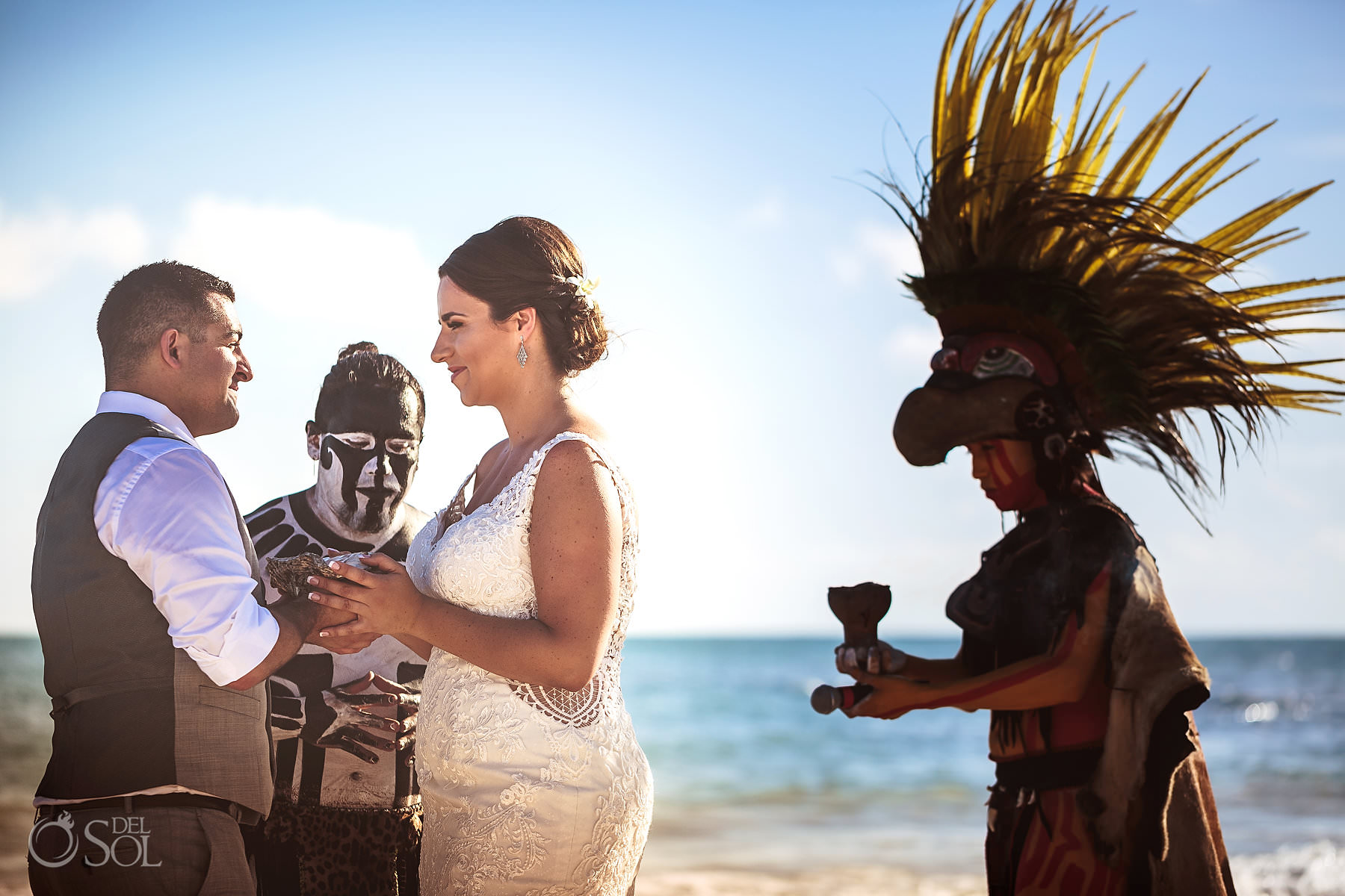 Dreams Tulum Mayan Wedding Beachfront ceremony