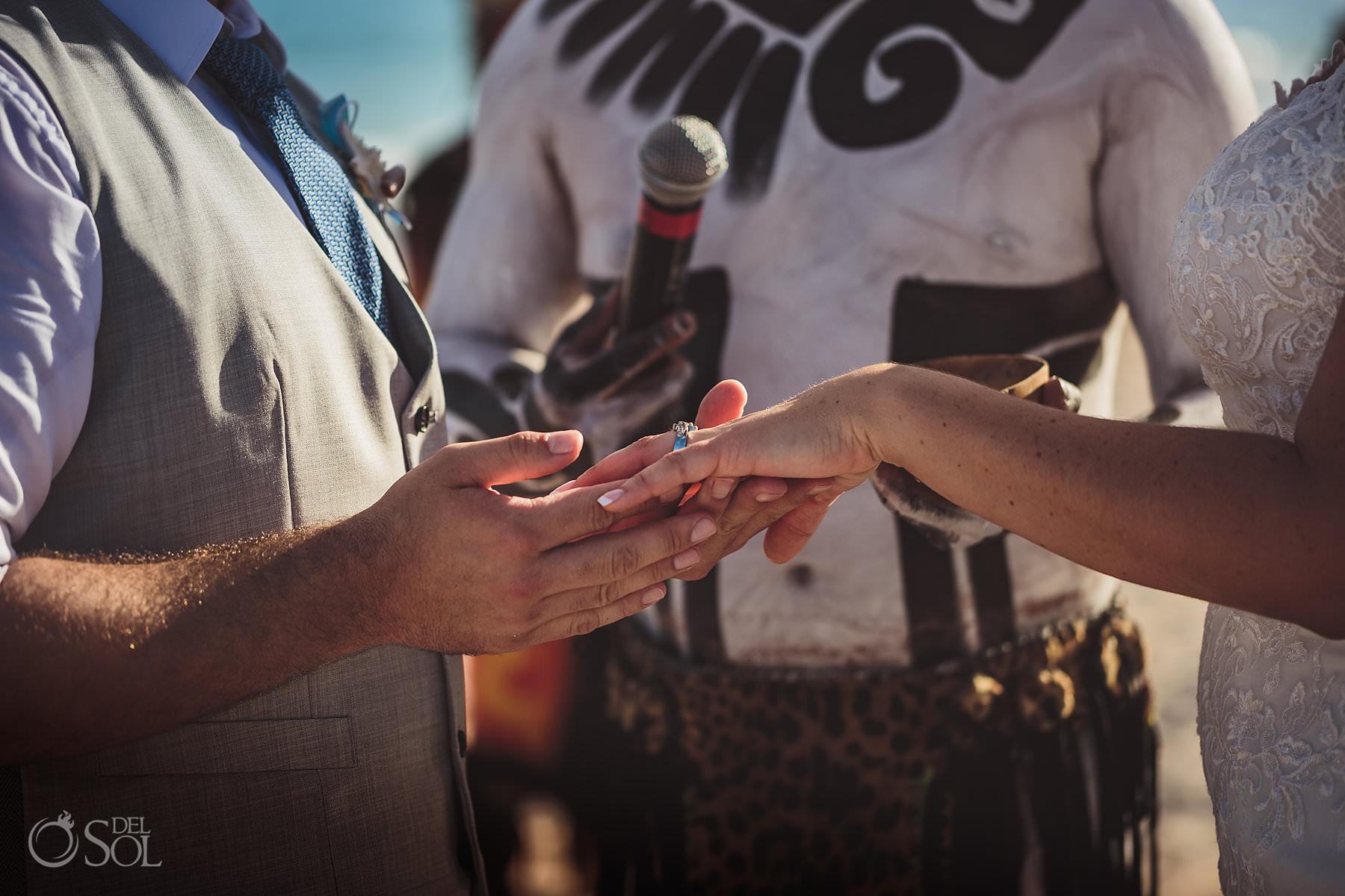 Dreams Tulum Mayan Wedding exchange of rings