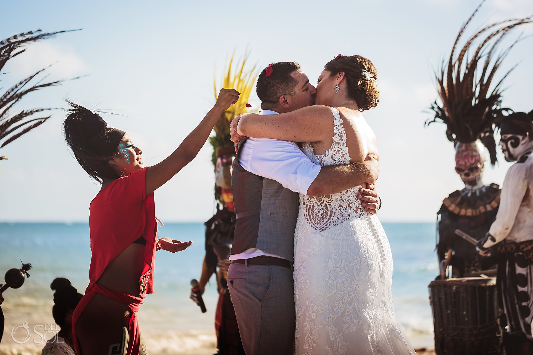 Dreams Tulum Mayan Wedding First Kiss